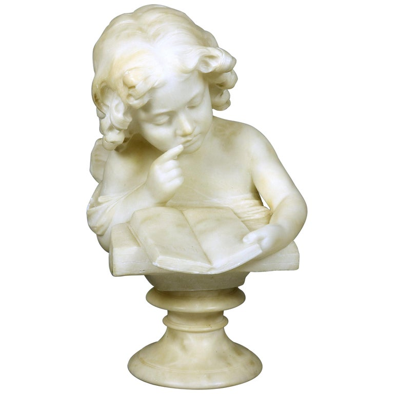 French Hand Carved Volterra Alabaster Portrait Sculpture Signed, circa 1890 For Sale