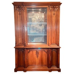 Antique French Hand-Carved Walnut Display Cabinet, Circa 1890-1910