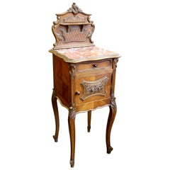 Antique French Hand-Carved Walnut Louis XV Style Marble-Top Bedside Table