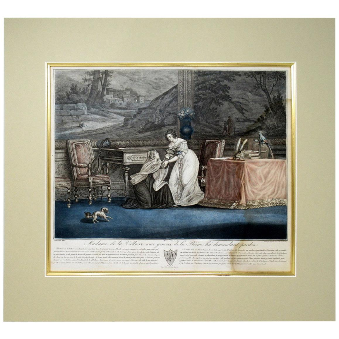 Antique French Hand Colored Engraving Painting after Horace Vernet, 1789-1863
