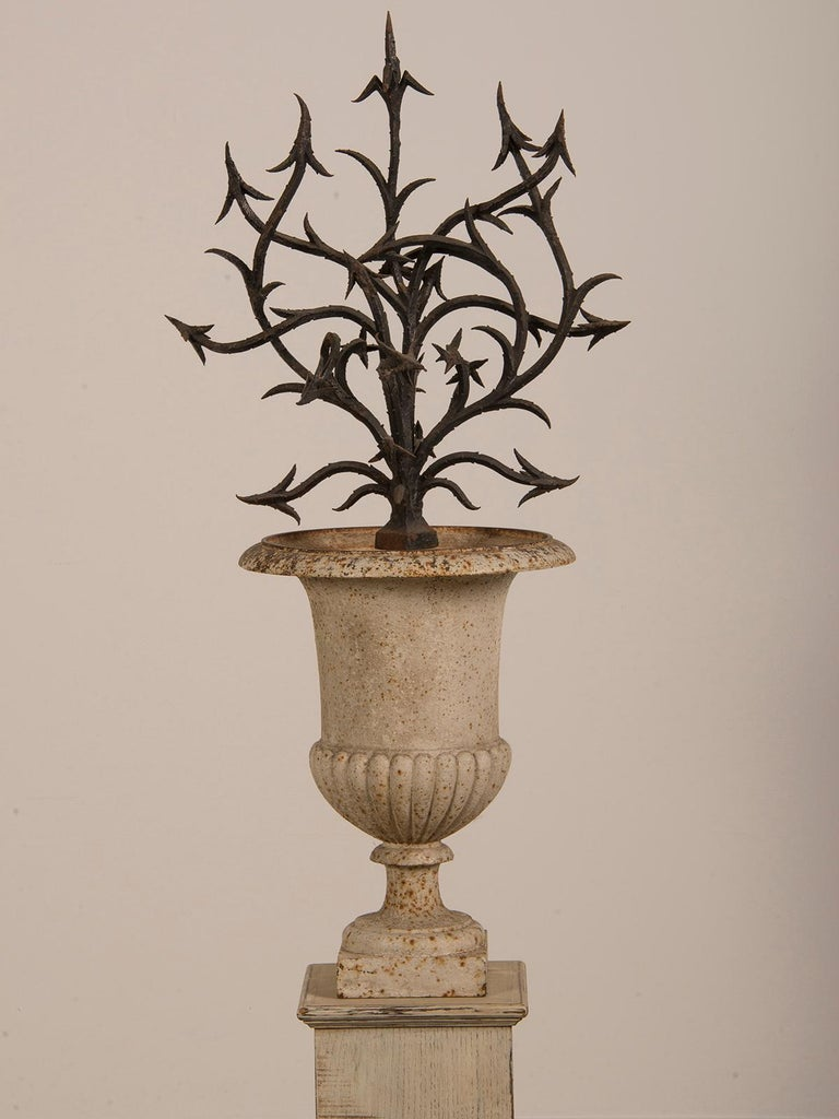 Cast Antique French Hand Forged Iron Sculpture Set in an Iron Urn France, circa 1880 For Sale