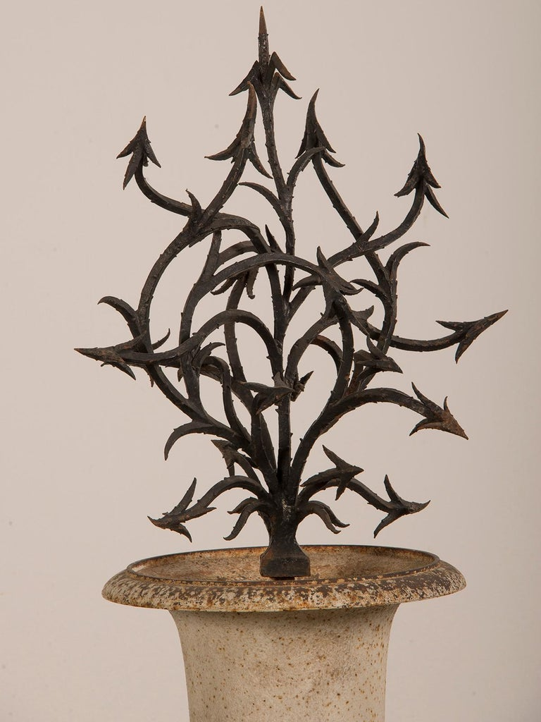 19th Century Antique French Hand Forged Iron Sculpture Set in an Iron Urn France, circa 1880 For Sale