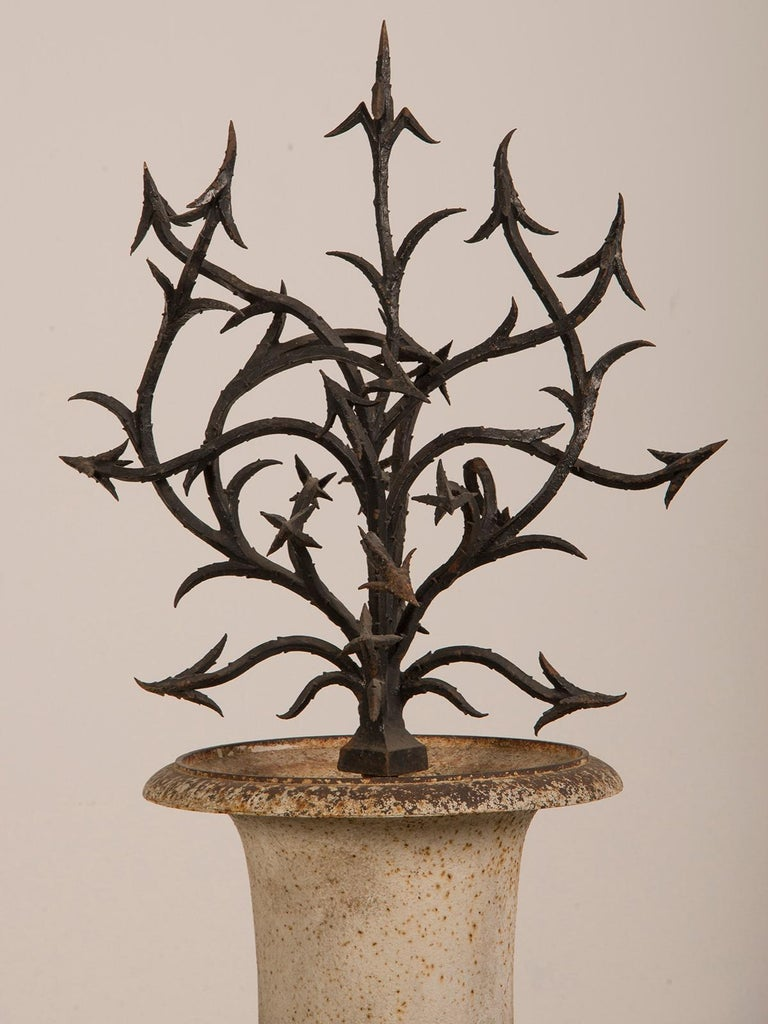 Antique French Hand Forged Iron Sculpture Set in an Iron Urn France, circa 1880 For Sale 1