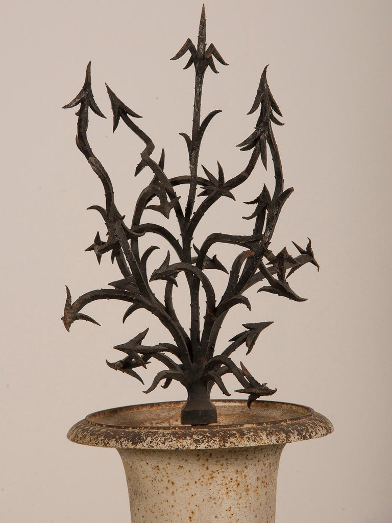 Antique French Hand Forged Iron Sculpture Set in an Iron Urn France, circa 1880 For Sale 2