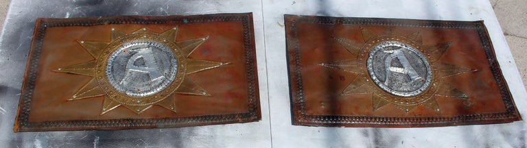Arts and Crafts Antique French Hand Hammered Copper Sign For Sale