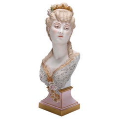 Antique French Hand Painted and Gilt Bisque Portrait Bust, circa 1890