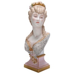 Antique French Hand Painted and Gilt Bisque Portrait Bust of Woman in Crown