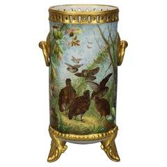 Antique French Hand Painted & Gilt Haviland Limoges Porcelain Vase, Circa 1890