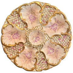 Antique French Hand Painted L.S. & S. Limoges Porcelain Oyster Plate, circa 1880