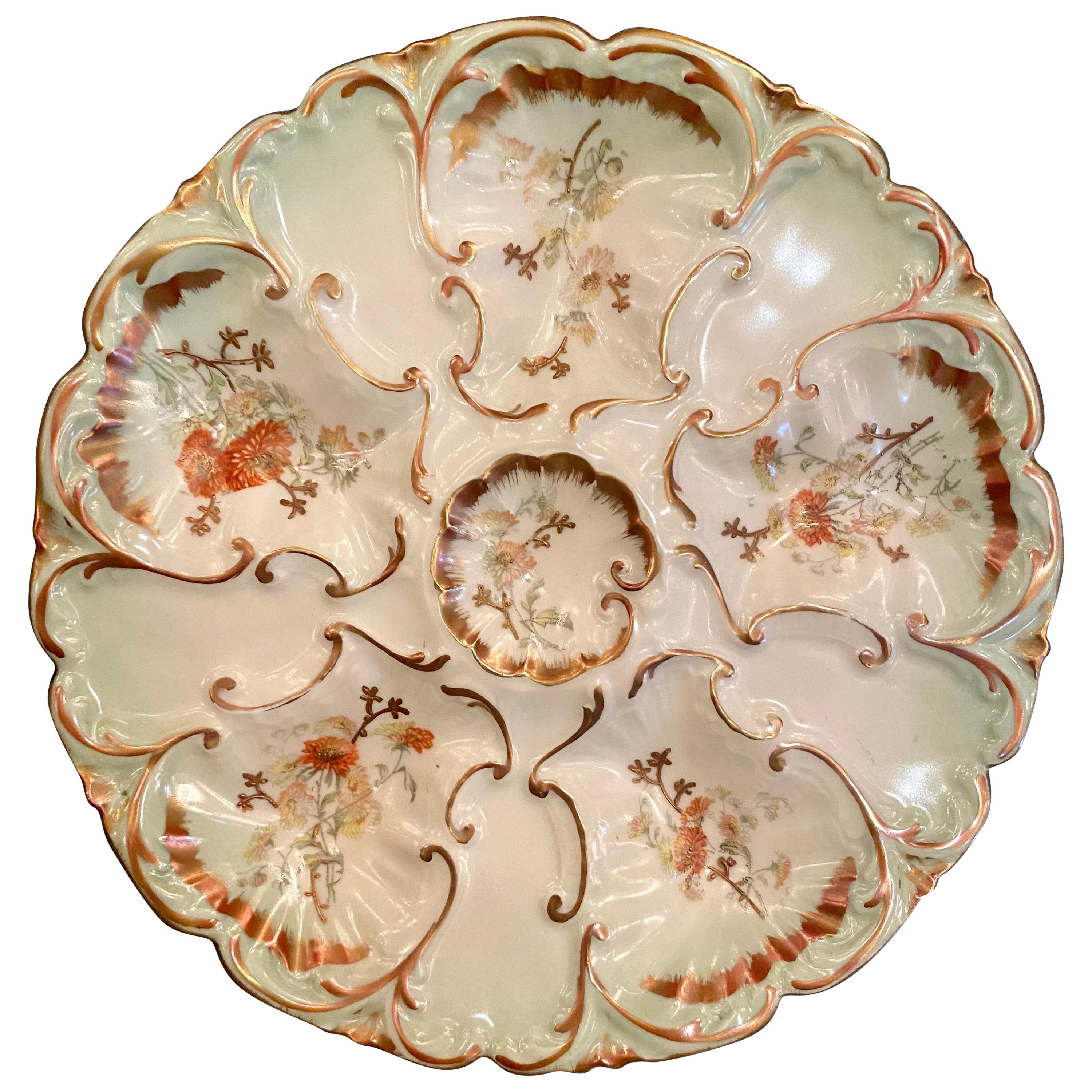 Antique French Hand Painted L.S. & S. Limoges Porcelain Oyster Plate circa 1870s