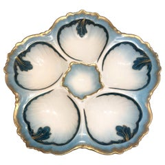 Antique French Hand-Painted Oyster Plate Made for Tressemanes & Vogt, circa 1900