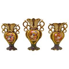 """Antique French Hand-Painted """"Vieux Paris"""" Porcelain 3 Piece Garniture Set, 1890s"""