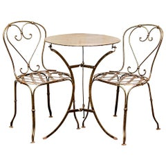Antique French Handwrought Iron Table and Two Chairs