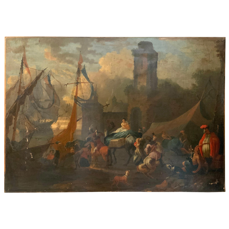 Antique French Harbor Scene Oil Painting, attrib. Claude-Joseph Vernet