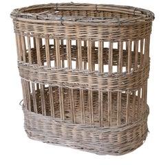 Antique French Harvest Basket on Castors