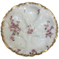 Antique French Haviland Limoges Hand-Painted Porcelain Oyster Plate, circa 1890