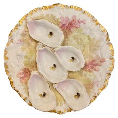 Antique French Haviland Limoges Porcelain Turkey Pattern Oyster Plate circa 1890