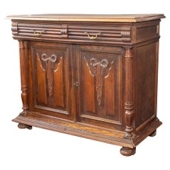 Antique French Henri II Style Oak Carved Buffet with Carved Bow Detail