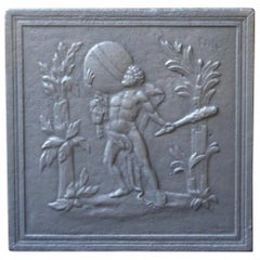 Antique French 'Hercules and Heaven' Fireback, 18th-19th Century