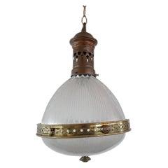 Antique French Holophane Pendant Light