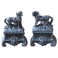 Antique French 'Horses' Andirons, 19th Century