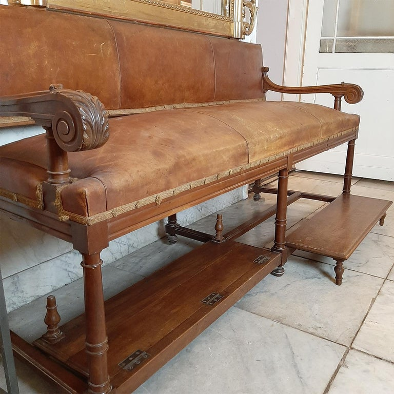 20th Century Antique French Hotel Entrance Sofa or Gentlemen's Shoe Shine Bench, circa 1900 For Sale