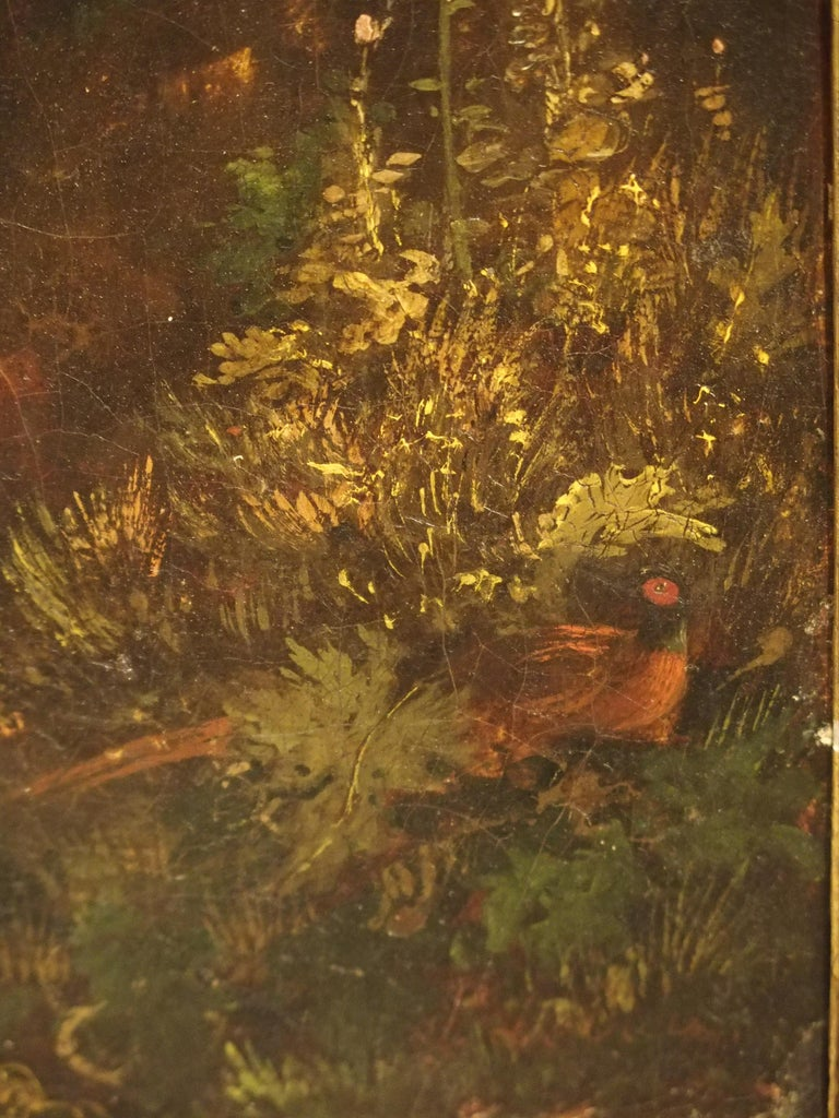 Antique French Hunting Dogs Painting, 19th Century For Sale 5