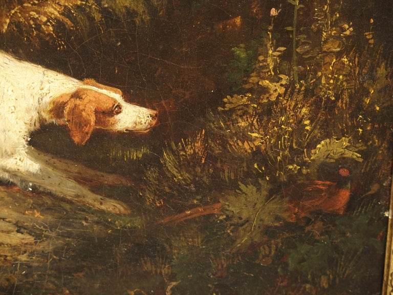Antique French Hunting Dogs Painting, 19th Century For Sale 6