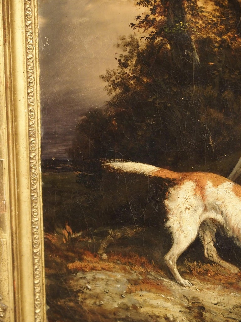 Antique French Hunting Dogs Painting, 19th Century For Sale 7