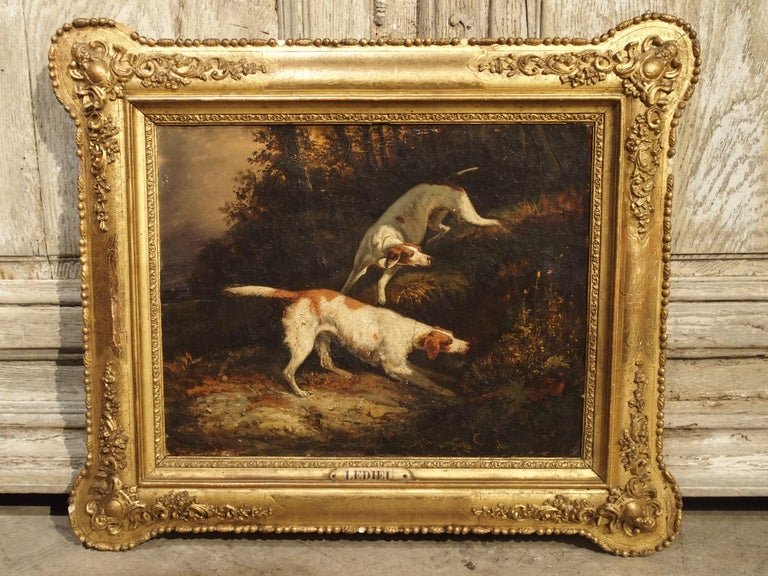 Antique French Hunting Dogs Painting, 19th Century For Sale 9