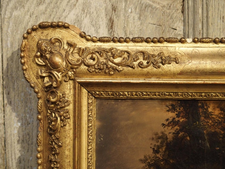 Gilt Antique French Hunting Dogs Painting, 19th Century For Sale