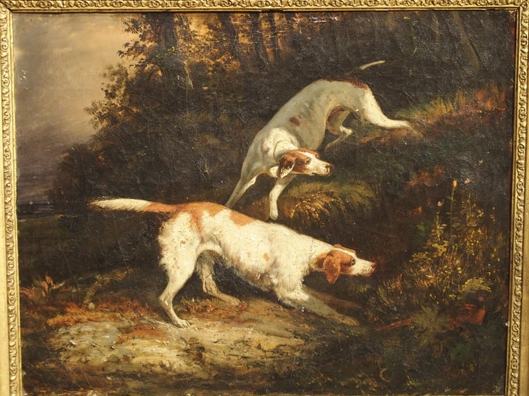 Canvas Antique French Hunting Dogs Painting, 19th Century For Sale