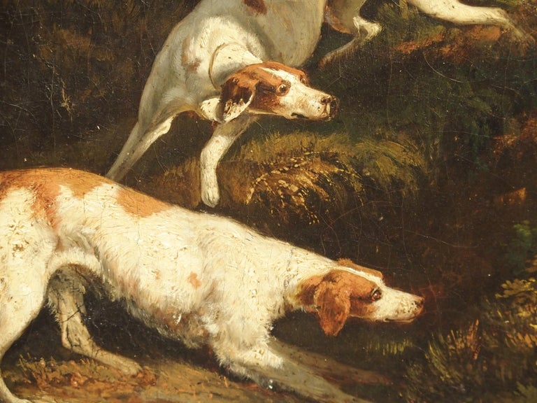 Antique French Hunting Dogs Painting, 19th Century For Sale 4