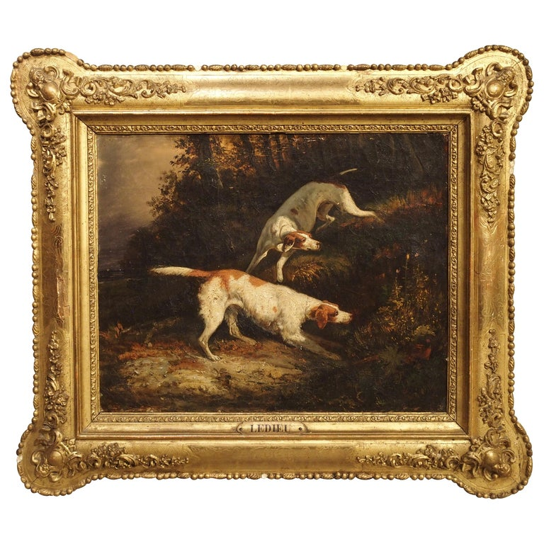 Antique French Hunting Dogs Painting, 19th Century For Sale