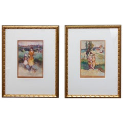 Antique French Impressionist Prints by Edna Gass a Pair