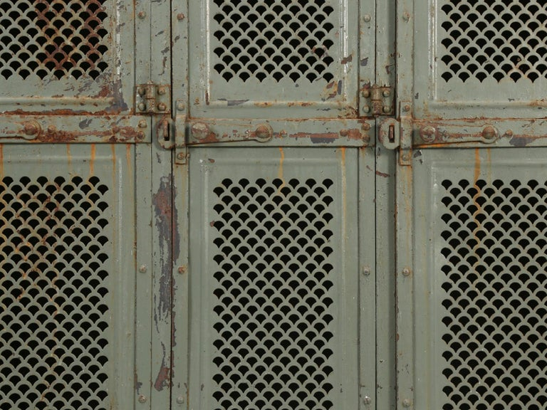 Antique French Steel Industrial Original Painted Lockers For Sale 6