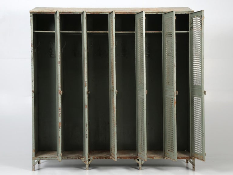 Antique French Steel Industrial Original Painted Lockers For Sale 9