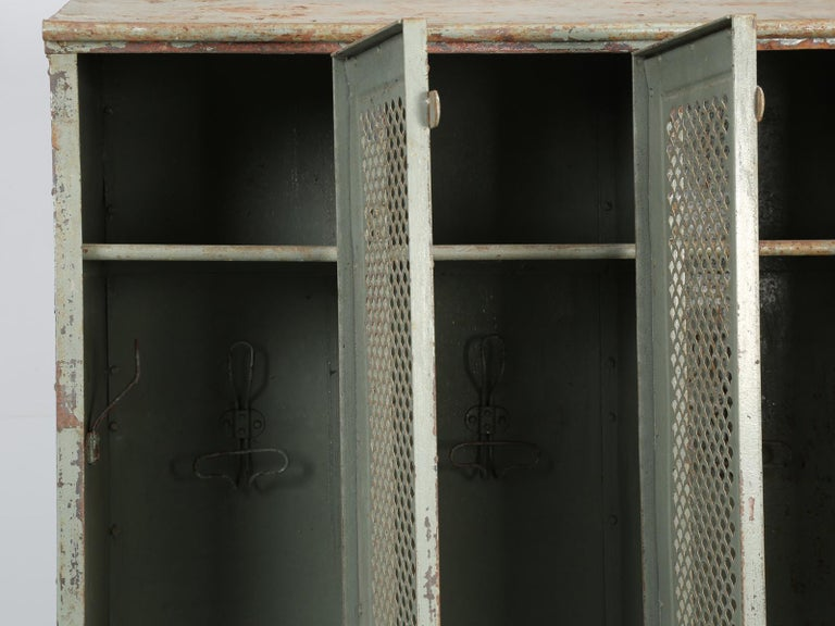 Antique French Steel Industrial Original Painted Lockers For Sale 10