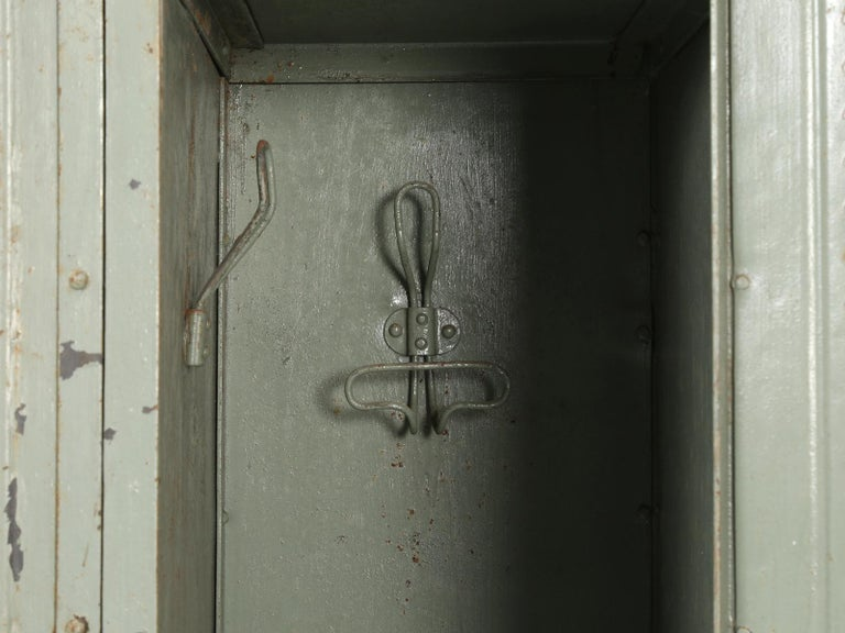 Antique French Steel Industrial Original Painted Lockers For Sale 11