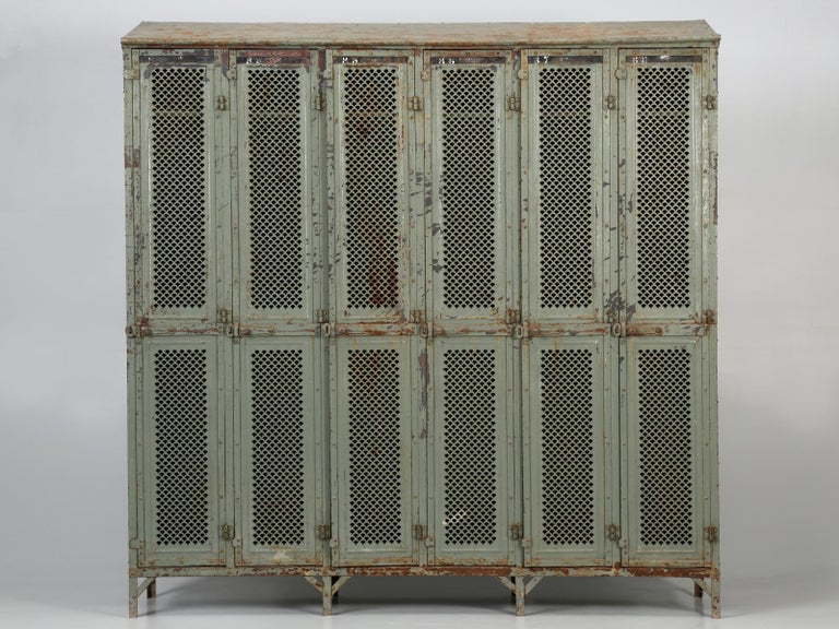 Not very often that we purchase something considered as Industrial, but these old antique French lockers are just so practical for your back hall, that we could not resist. This particular industrial locker set was found in the town of Troyes, in