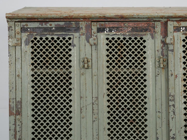 Antique French Steel Industrial Original Painted Lockers For Sale 1
