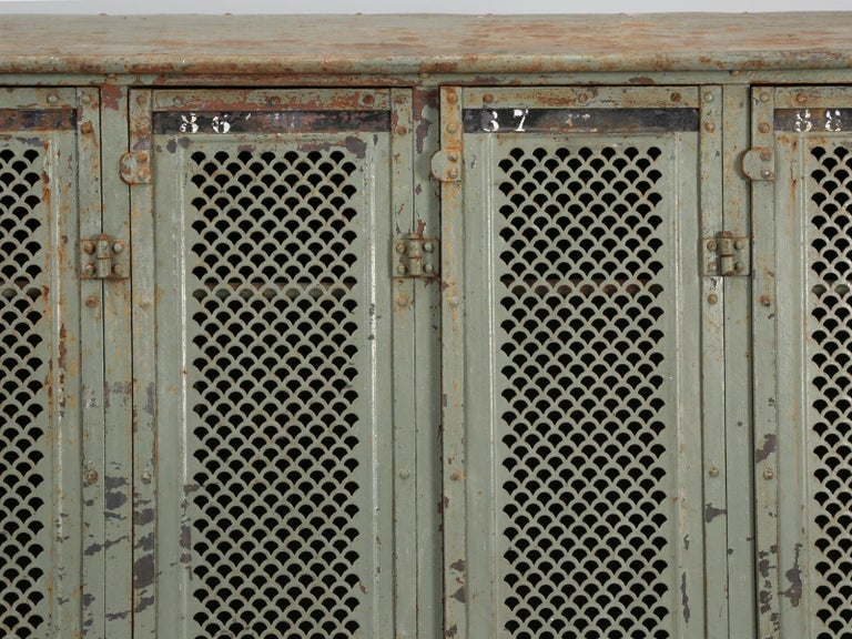 Antique French Steel Industrial Original Painted Lockers For Sale 2