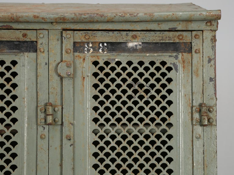 Antique French Steel Industrial Original Painted Lockers For Sale 3