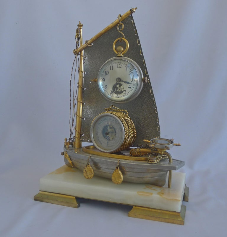 Antique French Industrial Sailboat Compendium Clock In Excellent Condition For Sale In London, GB