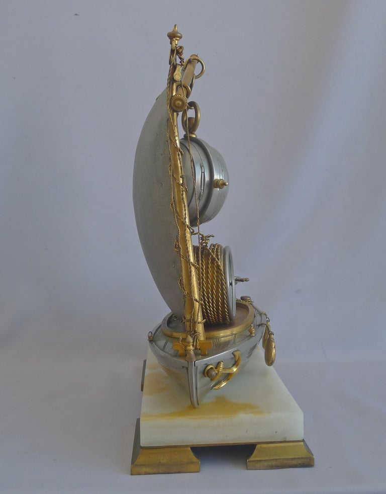 Late 19th Century Antique French Industrial Sailboat Compendium Clock For Sale