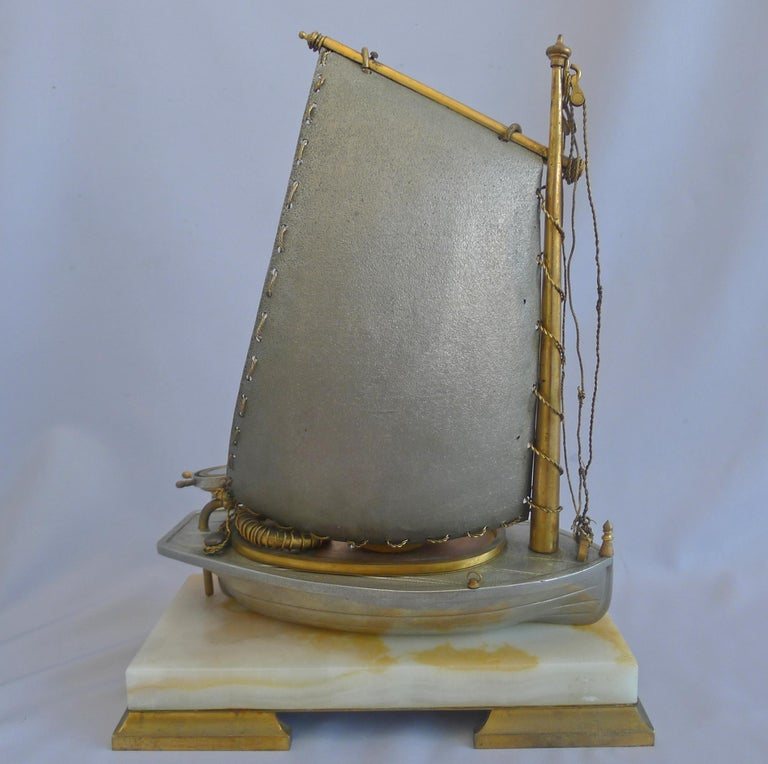 Bronze Antique French Industrial Sailboat Compendium Clock For Sale
