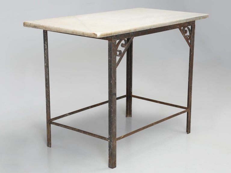 Antique French Work Table Or Kitchen Island And Original Marble Top For 14