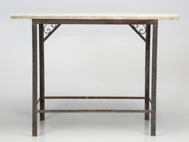 Antique French Industrial Work Table or Kitchen Island and Original Marble top For Sale 15