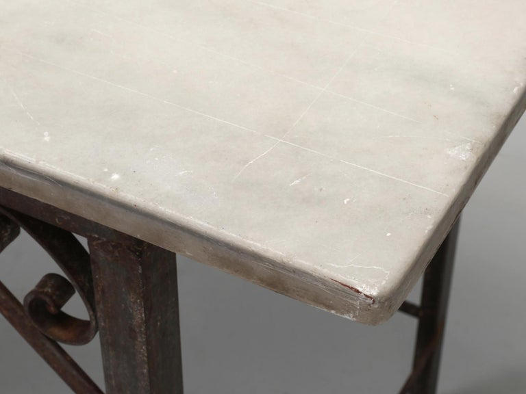 Antique French Industrial Work Table or Kitchen Island and Original Marble top For Sale 3