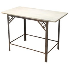 Antique French Industrial Work Table or Kitchen Island and Original Marble top